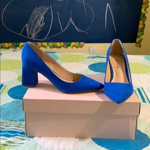 Electric Blue Chunk Heel